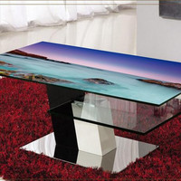 High quality 3d stereoscopic wallpaper murals tablecloth seaside Nature scenery table mesa Custom PVC