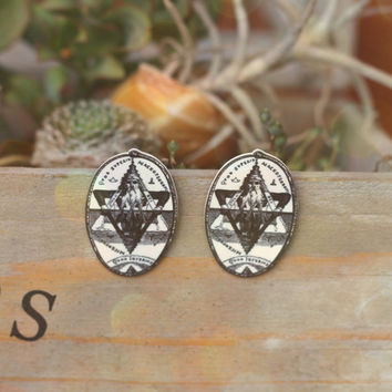 Symbol of Solomon Stud Earrings // Silver Earrings // Pagan Wicca Witch Accessories // Boho Jewelry