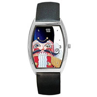 Christmas Nutcracker , Toy Soldier Womens Barrel Watch with Leather Band