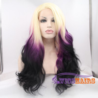 """22"""" Long Wavy without Bangs Synthetic Wigs for Women Lace Front Wigs Colorful"""