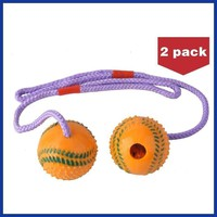 Dogs 2 Pack Squeaky Balls  Rubber Dog Chew Toys with a Rope.  Did you ever have a tug-of-war with your dog? Lots of fun!