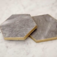 Gold and Marble Hexagon Coasters