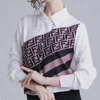 FENDI Hot Sale Fashionable Women Long Sleeve Lapel Shirt Top