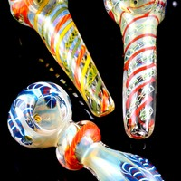Color Changing Striped Glass Pipe - P1556