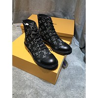 lv louis vuitton trending womens men leather side zip lace up ankle boots shoes high boots 102