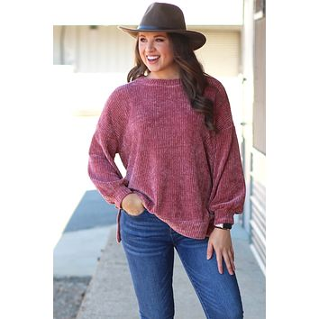 {Vintage Mauve} Brushed Chenille Lux Sweater