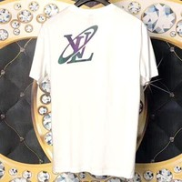 LV 2019 new reflective letter printing round neck half sleeve T-shirt white