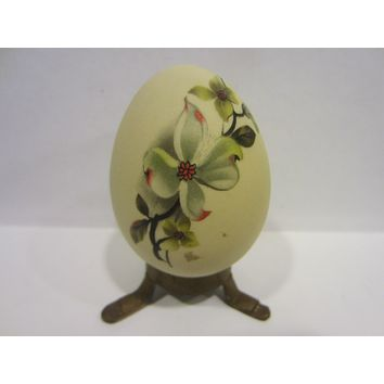A Folk Art Bisque Egg Hand Decorated Japanese Flowers Paperweight