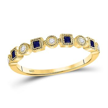 10k Yellow Gold Princess Blue Sapphire Diamond Stackable Band Ring 1/8 Cttw