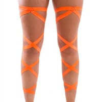 Pair of RaveReady Neon Orange Leg Wraps : Rave Fluffies Wraps