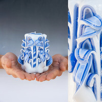 Valentines day gift for him - Carved candle - Small candle - Blue candle