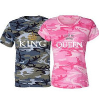 2017 Summer Style Male Female Camouflage T-Shirts King Queen T Shirt Imperial Crown Print Couple Clothes Lovers Tee Shirt Femme