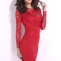Red Sweetheart Neckline Pencil Midi Dress with Lace Overlay