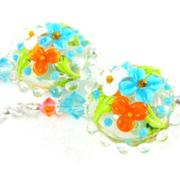 Orange Blue Floral Earrings, Nature Jewelry, Flower Earrings, Lampwork Earrings, Glass Earrings, Garden Wedding, Floral Jewelry Sunny Garden