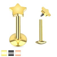 "16g Surgical Steel - Gold-black Internally Threaded Cartilage Earring Stud Body Jewelry Piercing with 3mm Star 16 Gauge 1/4"" 7z Acc"