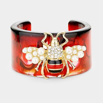 "7.50"" marbleized crystal bee faux pearl bracelet bangle 1.75"" wide"