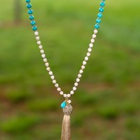 Eat, Pray, & Love Necklace-Turquoise