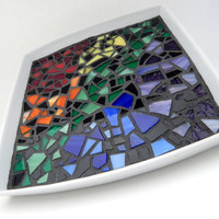 """Mosaic Decorative Plate, 7"""" x 7"""" White Square Ceramic Tray with Rainbow Stained Glass in an Abstract Design, Handmade Mosaic Platter"""
