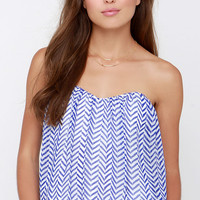 From Sun Up Ivory and Blue Print Strapless Top