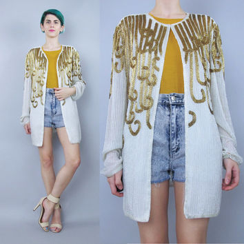 Vintage Beaded Evening Jacket White Gold Beaded Jacket 80s 90s Trophy Beaded Cardigan Sparkly Fancy Party Glam Wedding Sheer Sleeves (L)