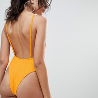 Twiin Alexa Textured High Leg Swimsuit at asos.com