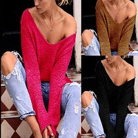 V-neck Asymmetric Solid Color Pullover Sweater