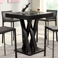 Cappuccino Crisscross Bar Table with Square Table Top