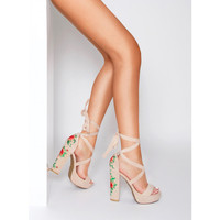 Armela Nude Suede Floral Lace Up Platform Heels : Simmi Shoes