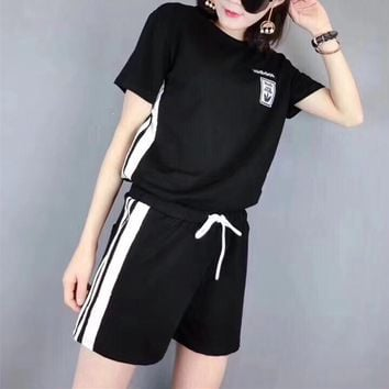 """Adidas"" Women Casual Fashion Multicolor Stripe Short Sleeve Shorts Set Two-Piece Sportswear"