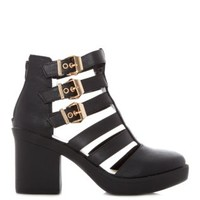 Black Cut Out Gladiator Shoe Boots