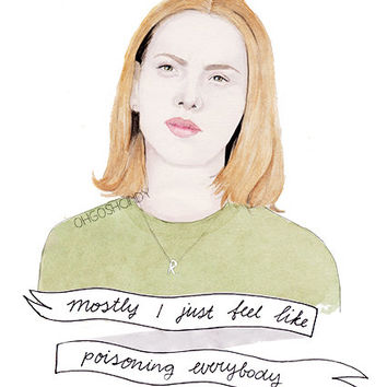 Rebecca from Ghost World watercolour portrait PRINT Scarlett Johansson