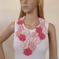 Crochet jewelry - Flower scarflette - crochet flower necklace , one of a kind spring necklace - pink and  coral - cotton scarflette