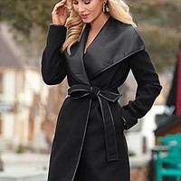 Black (BK) Faux Leather Wrap Coat