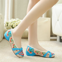 Fashion Women National Loafers Flats with Slip on Casual Embroidery Shoes