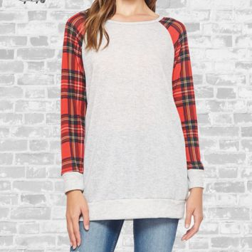 Plaid Sleeve Raglan Tunic - Heather Grey - Small or Medium only