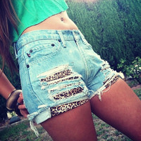 High Waisted and Distressed Shorts Layerd with Leopard Print Front Pockets FREE SHIPPING