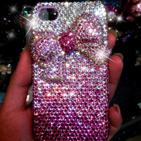 1 PCS  Handmade Bling Crystal iPhone 4G 4S  Back  Case Cover luxury shinny bowknot ,275a
