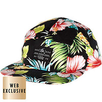 BLACK HAWAIIAN PRINT FLAT PEAK CAP