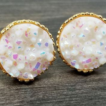 Rainbow white faux druzy in Crown stud earrings (you pick setting tone)
