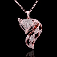 18K Rose Gold Plated Alloy Pendant with White Rhinestones Setting Fox Necklace for Women
