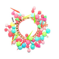"""18k Gold Filled Charm Bracelet """"Neon"""" woven with pink-orange neon cotton thread and multi-colored beads selection"""