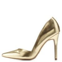 Gold Metallic D'Orsay Pointed Toe Pumps by Charlotte Russe