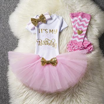2018 Newborn Infant Clothing Infant Baby Girl 1 Year Birthday Dress T-shirt Outfits Dresses Toddlers Clothes 0-24M bebes vestido
