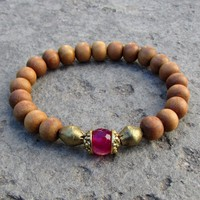 Healing and Grounding, Genuine Sandalwood and Pink Agate Guru Bead Bracelet