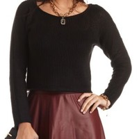 Sheer Open Knit Cropped Sweater by Charlotte Russe