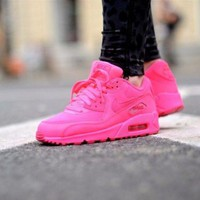 Tagre™ ONETOW Best Online Sale Nike Air Max WMNS 90 Gs Hpyer Pink Running Shoes Sport Shoes 345017-601