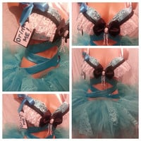 Alice In Wonderland Rave Bra and Bottoms, Rave Outfit, Outfit for EDC