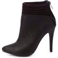 Quilted Zipper-Trim Pointed Toe Booties by Charlotte Russe - Black