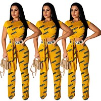 FENDI Summer Hot Sale Women Sexy Print Crop Top Pants Trousers Set Two-Piece