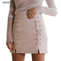 Suede Leather Skirts  2017 High Waist Sexy Vintage Lace Up  Zipper Split Office Skirts Womens Solid  Mini Bodycon Pencil Skirt